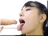 Licking the dildo